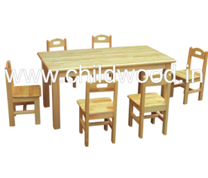 Playschool wooden rectangle table